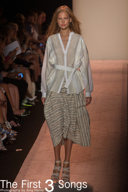 Models are seen during the BCBGMAXAZRIA presentation at the Mercedes-Benz Fashion Week Spring 2015 in New York City.