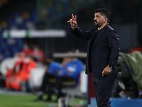 13th June 2020; Stadio San Paolo, Naples, Campania, Italy; Coppa Italia Football, Napoli versus Inter Milan; Gennaro Gattuso coach of Napoli sends in instructions to his players