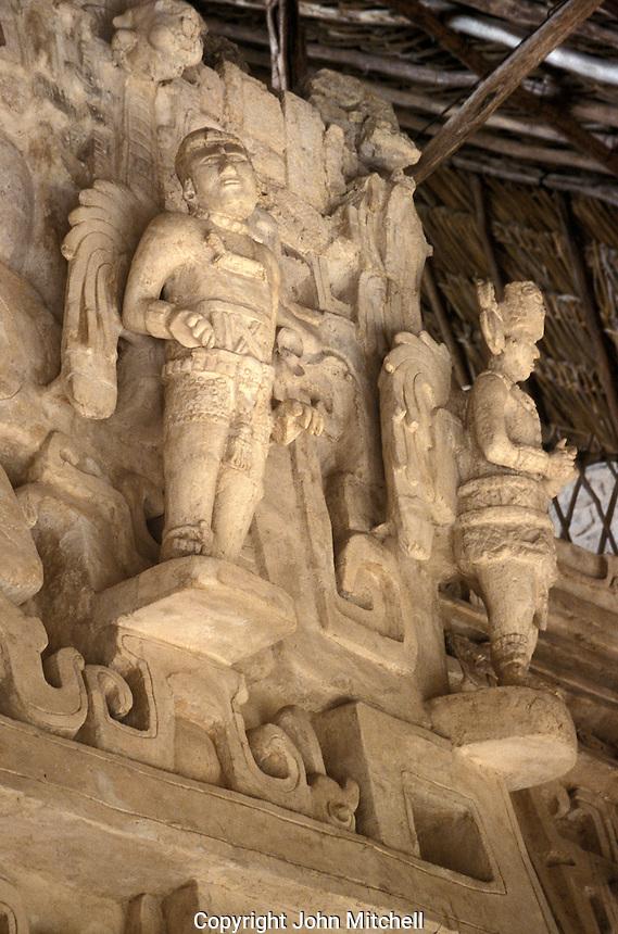 Winged warrior sculptures in the Acropolis at the Mayan ruins of Ek' Balam, Yucatan, Mexico