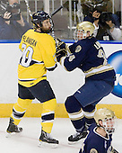 Ryan Flanigan (Merrimack - 20), Sean Lorenz (Notre Dame - 24) - The University of Notre Dame Fighting Irish defeated the Merrimack College Warriors 4-3 in overtime in their NCAA Northeast Regional Semi-Final on Saturday, March 26, 2011, at Verizon Wireless Arena in Manchester, New Hampshire.