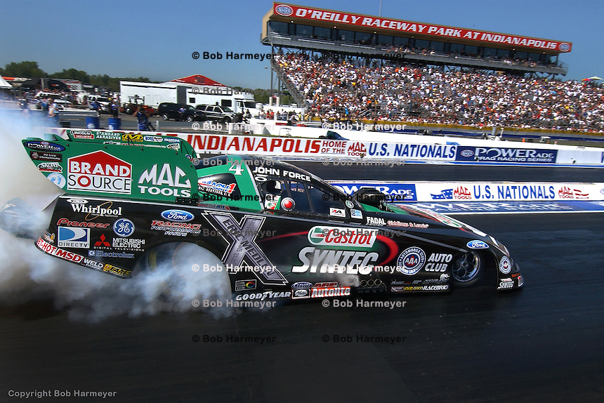 INDIANAPOLIS, IN - SEPTEMBER 3: John Force drives his Funny Car during the NHRA Mac Tools US Nationals on September 3, 2007, at Raceway Park near Indianapolis, Indiana.