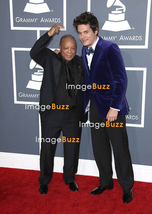 Quincy Jones, John Mayer  at the 55th Grammy Awards-Arrivals  held at the Los Angeles Convention Center.