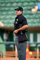 Home plate umpire Edgar Morales before the game between the Ogden Raptors and the Great Falls Voyagers at Lindquist Field on August 16, 2017 in Ogden, Utah. The Voyagers defeated the Raptors 11-6. (Stephen Smith/Four Seam Images)