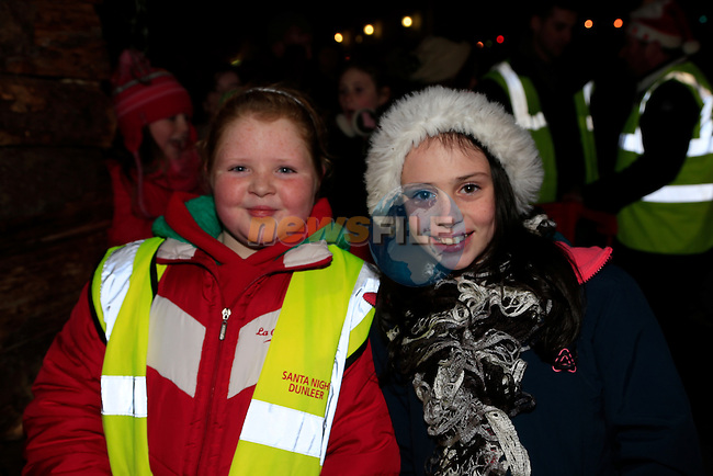 Hanna McRory and Ciara Callan in dunleer for the arrival of Santa<br /> Picture: Fran Caffrey www.newsfile.ie