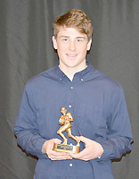 Graham Thomas/Herald-Leader<br /> Siloam Springs sophomore Colin Evers received the Special Teams Player of the Year Award for the 2018 season.