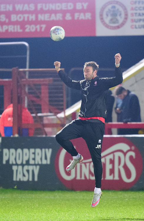 Lincoln City's Jamie McCombe during the pre-match warm-up<br /> <br /> Photographer Andrew Vaughan/CameraSport<br /> <br /> The EFL Checkatrade Trophy Second Round - Accrington Stanley v Lincoln City - Crown Ground - Accrington<br />  <br /> World Copyright &copy; 2018 CameraSport. All rights reserved. 43 Linden Ave. Countesthorpe. Leicester. England. LE8 5PG - Tel: +44 (0) 116 277 4147 - admin@camerasport.com - www.camerasport.com