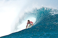 "TEAHUPOO, Taiarapu/Tahiti (Friday, September 3, 2010) - Andy Irons (HAW), 32, past three-time ASP World Champion, has won the Billabong Pro Tahiti, besting C.J. Hobgood (USA), 31, in an explosive Final clash in three-to-four foot (1.5 metre) waves at Teahupoo..The fifth stop on the 2010 ASP World Tour, the Billabong Pro Tahiti culminated in climactic fashion today, on the final day of the waiting period..The emphatic victory marks Irons' 20th at the elite level of competition, and the Hawaiian was emotional when regarding his first win in over three years (won Rip Curl Pro Search Chile 2007)..""I did it!"" Irons exclaimed. ""I surf because I have to put my jersey on some time. I took a lot of losses, but I put in the hard work too. I dedicate this win 100% to my wife, Lindy, she is everything to me and without her, I'd be nothing. I really, really like competing because I love to win and I feel on top of the world today. I surf because I love to win. I love this feeling."".Slater has moved back into the #1 spot on the ASP ratings and is in the hunt for a tenth world title...  Photo: joliphotos.com"