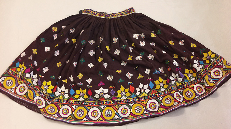 VINTAGE VAGAD TRIBAL EMBROIDERY CHANIYO SKIRT . EACH AVAILABLE SEPARATELY. DETAILED IMAGES AVAILABLE ON REQUEST.