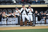 The Wake Forest Demon Deacons dugout cheers for their teammate at bat during the game against the Sacred Heart Pioneers at David F. Couch Ballpark on February 15, 2019 in  Winston-Salem, North Carolina.  The Demon Deacons defeated the Pioneers 14-1. (Brian Westerholt/Four Seam Images)