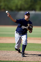Milwaukee Brewers minor league pitcher Rodolfo Fernandez #65 during an instructional league game against the Cincinnati Reds at Maryvale Baseball Park on October 3, 2012 in Phoenix, Arizona.  (Mike Janes/Four Seam Images)
