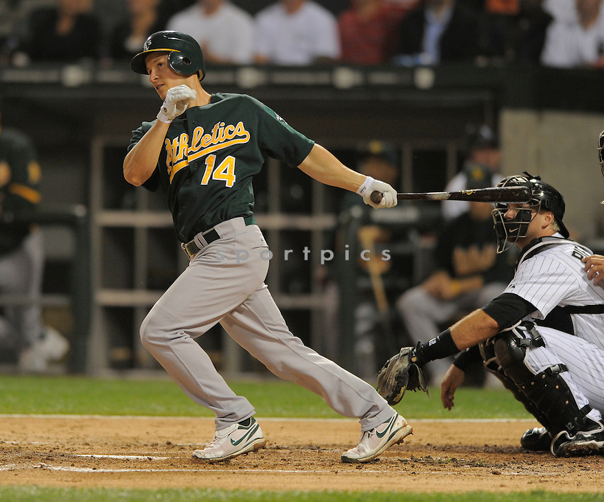 MARK ELLIS, of the Oakland A's  , in action during the A's  game against the Chicago White Sox on August 9, 2009 in Chicago, IL. The White Sox beat the A's 4-3 ...