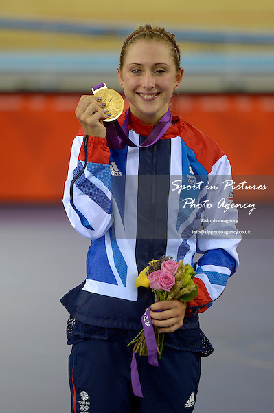 Laura Trott (GBR, Great Britain) with her gold medal. Track Cycling - PHOTO: Mandatory by-line: Garry Bowden/SIP/Pinnacle - Photo Agency UK Tel: +44(0)1363 881025 - Mobile:0797 1270 681 - VAT Reg No: 768 6958 48 - 07/08/2012 - 2012 Olympics -Velodrome, Olympic Park, London, England.