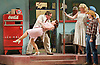 The Elixir of Love<br /> by Donizetti <br /> Libretto by Romani after Scribe<br /> Translation by Kelley Rourke<br /> Classic revival <br /> directed by Jonathan Miller<br /> <br /> English National Opera <br /> at The London Coliseum, London, Great Britain <br /> rehearsal <br /> 12th September 2011 <br /> <br /> Andrew Shore (as Dr Dulcamara)<br /> Ella Kirkpatrick (as Giannetta)<br /> <br /> Photograph by Elliott Franks