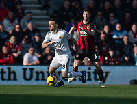 Wolverhampton Wanderers' Diogo Jota (left) under pressure from Bournemouth's Chris Mepham (right) <br /> <br /> Photographer David Horton/CameraSport<br /> <br /> The Premier League - Bournemouth v Wolverhampton Wanderers - Saturday 23 February 2019 - Vitality Stadium - Bournemouth<br /> <br /> World Copyright © 2019 CameraSport. All rights reserved. 43 Linden Ave. Countesthorpe. Leicester. England. LE8 5PG - Tel: +44 (0) 116 277 4147 - admin@camerasport.com - www.camerasport.com