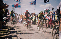 Adam Yates (GBR/Mitchelton-Scott) on pav&eacute; sector #4<br /> <br /> Stage 9: Arras Citadelle &gt; Roubaix (154km)<br /> <br /> 105th Tour de France 2018<br /> &copy;kramon