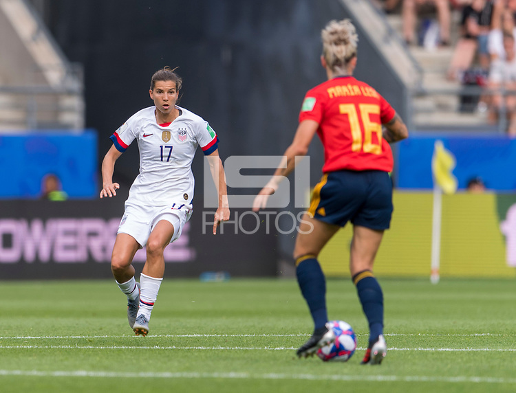 REIMS,  - JUNE 24: Tobin Heath #17 defends Mapi Leon #16 during a game between NT v Spain and  at Stade Auguste Delaune on June 24, 2019 in Reims, France.