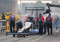 May 31, 2019; Joliet, IL, USA; Crew members for NHRA top fuel driver Dom Lagana during qualifying for the Route 66 Nationals at Route 66 Raceway. Mandatory Credit: Mark J. Rebilas-USA TODAY Sports