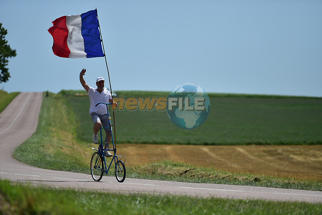French fan during Stage 7 of the 104th edition of the Tour de France 2017, running 213.5km from Troyes to Nuits-Saint-Georges, France. 7th July 2017.<br /> Picture: ASO/Bruno Bade | Cyclefile<br /> <br /> <br /> All photos usage must carry mandatory copyright credit (&copy; Cyclefile | ASO/Bruno Bade)