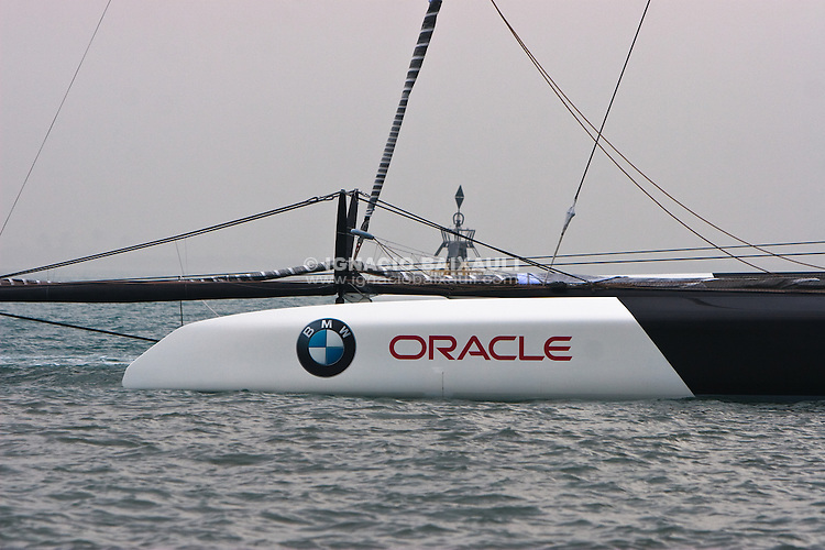 BMW Oracle Racing BOR90 sail for the first time in Valencia. 19/1/2010 Valencia, Spain