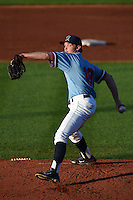 Cedar Rapids Kernels pitcher Kohl Stewart (19) delivers a pitch during a game against the Quad Cities River Bandits on August 19, 2014 at Perfect Game Field at Veterans Memorial Stadium in Cedar Rapids, Iowa.  Cedar Rapids defeated Quad Cities 5-3.  (Mike Janes/Four Seam Images)