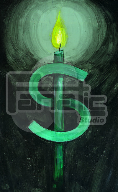 Illustrative image of green dollar sign and lit candle