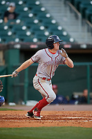 Syracuse Chiefs left fielder Andrew Stevenson (2) bats during a game against the Buffalo Bisons on May 18, 2017 at Coca-Cola Field in Buffalo, New York.  Buffalo defeated Syracuse 4-3.  (Mike Janes/Four Seam Images)