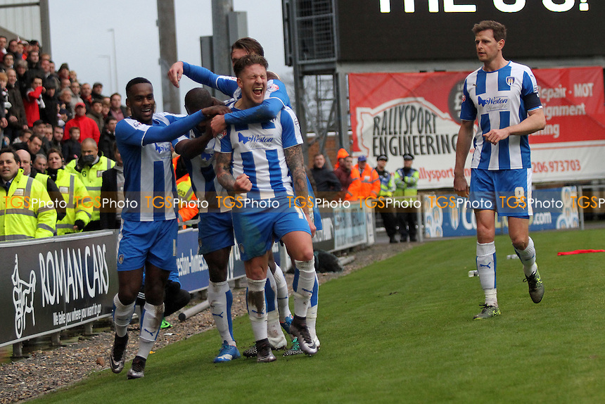 Colchester celebrate the first goal during Colchester United vs Charlton Athletic, Emirates FA Cup Football at the Weston Homes Community Stadium, Colchester, England on 09/01/2016