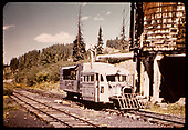 RGS Goose #4 taking water at Trout Lake water tank.<br /> RGS  Trout Lake, CO  ca. 1951