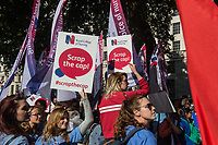 Protest by members of the Royal College of nursing Trade Union over the public sector pay cap outside Downing street. 27-7-17