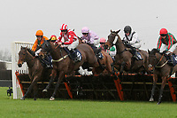 The field in jumping action in the Connollys Red Mills Horse Feeds Conditional Jockeys Handicap Hurdle
