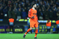 Hugo Lloris of Tottenham Hotspur celebrates Christian Eriksen of Tottenham Hotspur scoring the opening goal during Tottenham Hotspur vs Inter Milan, UEFA Champions League Football at Wembley Stadium on 28th November 2018