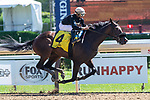 September 05, 2020: Rinaldi #4, ridden by Luis Saez, trained by  H. Bond  wins Race 1 on New York Bred Stakes day at Saratoga Race Course in Saratoga Springs, New York. Rob Simmons/CSM