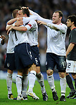 John Terry of England celebrates his goal with David Beckham during the Friendly International match at Wembley Stadium, London. Picture date 28th May 2008. Picture credit should read: Simon Bellis/Sportimage