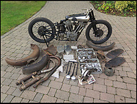 BNPS.co.uk (01202)558833Pic: H&amp;H/BNPS<br /> <br /> Poignant puzzle...<br /> <br /> A vintage motorbike that has a tragic past and is in a jumble of parts has sold for a world record price of &pound;425,000.<br /> <br /> The 1930 Brough SS100 was ridden in a fateful race by the British biker FP 'Gentleman' Dickson alongside teammate George Brough, the engineer behind the famous machine. <br /> <br /> Dickson died after crashing the bike at a race in Switzerland in August 1930.<br /> <br /> The SS100 was later owned by motorbike enthusiast for almost 50 years. He had intended to restore the machine but died before he could complete project.