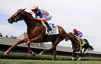 Zagora, with jockey Ramon Dominguez up, wins the Ballston Spa Stakes at Saratoga Race Course on Travers Stakes Day  in Saratoga Springs, New York on August 25, 2012.