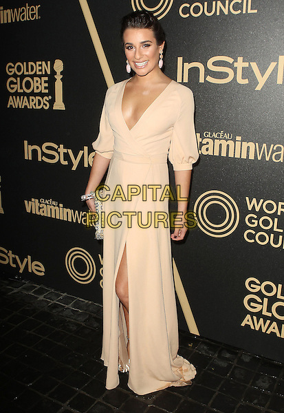 Lea Michele.The Hollywood Foreign Press Association And InStyle Miss Golden Globe 2013 Party held at Cecconi's Restaurant, West Hollywood, California, USA, 29th November 2012..full length beige  nude dress v-neck low cut long sleeve maxi slit split clutch bag .CAP/ADM/KB.©Kevan Brooks/AdMedia/Capital Pictures.
