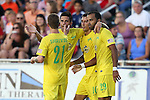 01 August 2015: Tampa Bay's Georgi Hristov (BUL) (10) celebrates his goal with Maicon Santos (BRA) (29), Marcelo Saragosa (BRA), and Brian Shriver (21). The Carolina RailHawks hosted the Tampa Bay Rowdies FC at WakeMed Stadium in Cary, North Carolina in a North American Soccer League 2015 Fall Season match. The game ended in a 1-1 tie.