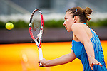 The tennis player Simona Halep during the match against Sabine Lisicki in the Madrid Open Tennis Tournament. In Madrid, Spain, on 08/05/2014.