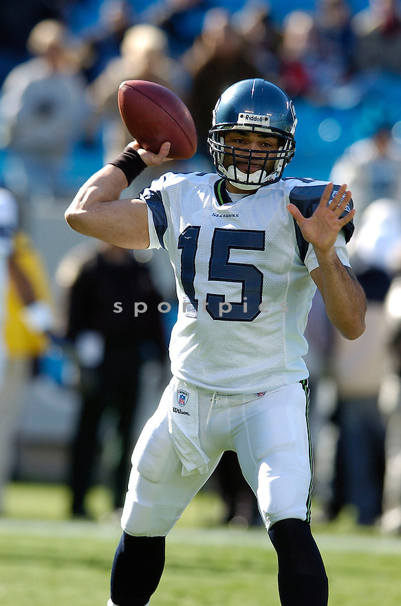 SENECA WALLACE, of the Seattle Seahawks  in action during the Seahawks game against the Carolina Panthers  on December 16, 2007 in Charlotte, North Carolina...PANTHERS win 13-10..SPORTPICS