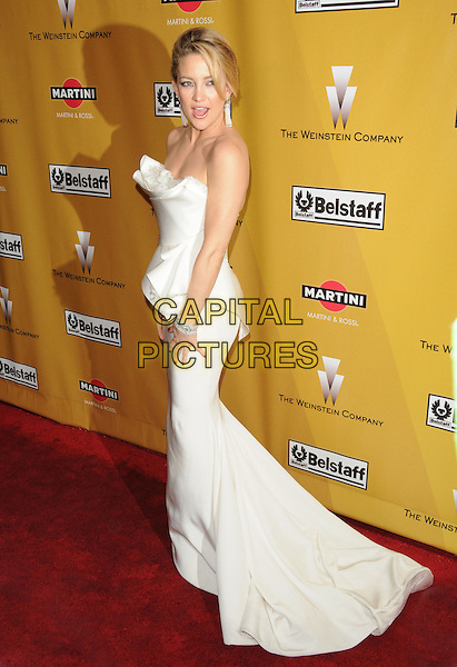 KATE HUDSON.At Weinstein Company Post Golden Globe Party held at Bar210 & Plush Ultra Lounge in Beverly Hills, California, USA. January 17th, 2010                                                                   globes full length white dress origami strapless pleated pleats side mouth open.CAP/DVS.©Debbie VanStory/Capital Pictures
