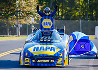 Sep 24, 2017; Mohnton, PA, USA; NHRA funny car driver Ron Capps celebrates after winning the Dodge Nationals at Maple Grove Raceway. Mandatory Credit: Mark J. Rebilas-USA TODAY Sports