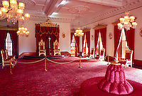 Interior throne room of four story Italian renaissance Iolani Palace, the only royal palace in the US, built in 1882 by King David Kalakaua