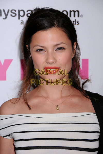 NATASSIA MALTHE.Nylon Magazine and MySpace Celebrate their 3rd Annual Music Issue, Hollywood, California, USA..June 3rd, 2008.headshot portrait coral lipstick black white striped stripes .CAP/ADM/BP.©Byron Purvis/AdMedia/Capital Pictures.