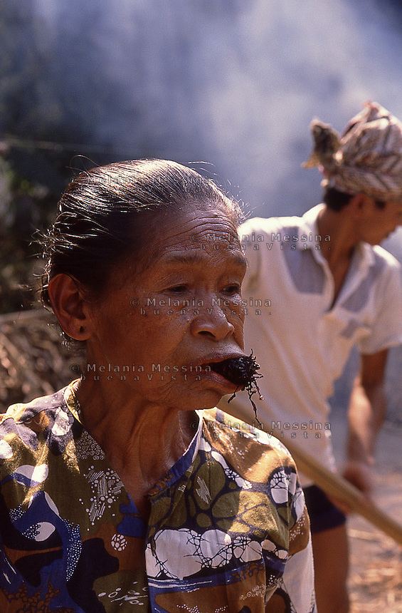 Indonesia, Java island, woman chewing tobacco.<br />