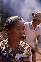 Indonesia, Java island, woman chewing tobacco.<br /> Indonesia; Giava, donna che mastica tabacco