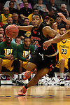 March 6, 2015; Las Vegas, NV, USA; Pacific Tigers guard T.J. Wallace (2) dribbles the basketball against the San Francisco Dons during the first half of the WCC Basketball Championships at Orleans Arena.
