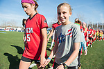 KANSAS CITY, MO - DECEMBER 02: Taylor Thompson (5) of the University of Central Missouri enters the field with her companion during pre-game for the Division II Women's Soccer Championship held at the Swope Soccer Village on December 2, 2017 in Kansas City, Missouri. (Photo by Doug Stroud/NCAA Photos/NCAA Photos via Getty Images)