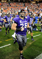 Jan. 4, 2010; Glendale, AZ, USA; TCU Horned Frogs center (76) Jake Kirkpatrick against the Boise State Broncos in the 2010 Fiesta Bowl at University of Phoenix Stadium. Boise State defeated TCU 17-10. Mandatory Credit: Mark J. Rebilas-