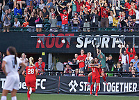 Portland, OR - Wednesday June 28, 2017: Hayley Raso, Dagný Brynjarsdóttir celebrate a goal during a regular season National Women's Soccer League (NWSL) match between the Portland Thorns FC and FC Kansas City at Providence Park.
