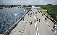 2nd peloton over the dam<br /> <br /> Belgian National Road Cycling Championships 2016<br /> Les Lacs de l'Eau d'Heure